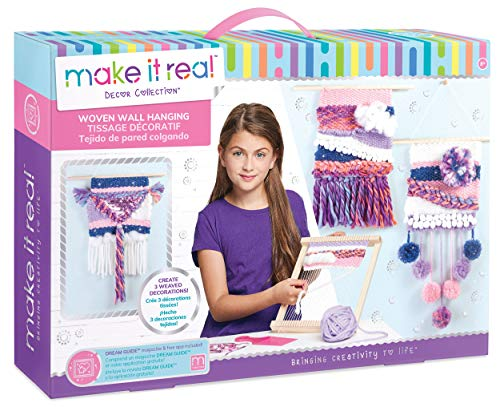 Make It Real Woven Wall Hanging. Arts and Crafts Kit for Girls Guides Tweens to Weave Their Own Wall Art. Includes Materials for Three Beautiful Hanging Woven Wall Art Pieces (Craft Kids Kits)