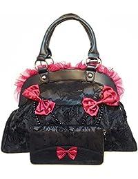 Prohibido de ropa con diseño con forma de corona negro y rojo de encaje y bolso de mano juego de diseño de calavera diseño de rosas y cartera de Navidad Set de regalo compuesto por