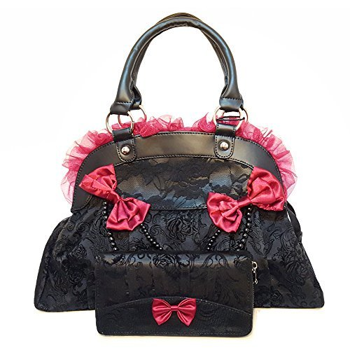 Banned-Apparel-Elegant-Black-Red-Flocked-Skull-Rose-Lace-Handbag-Wallet-Gift-Set