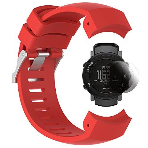Suunto Core ALU Band con protezione dello schermo, TUSITA cinghia in silicone di sostituzione Braccialetto WristBand Accessorio per Suunto Core ALU Sport Watch (ROSSO)