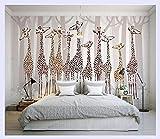 BHXINGMU Benutzerdefinierte 3D Foto Tapeten Nostalgie Giraffe 3D Wandgestaltung Wohnzimmer Tv Hintergrund Schlafzimmer 3D Foto Tapete 170Cm(H)×220Cm(W)