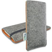 Stilbag Funda de fieltro 'FINN' para Huawei Nexus 6P - Color gris/naranja