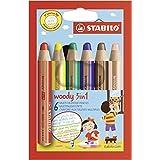 Buntstift, Wasserfarbe & Wachsmalkreide - STABILO woody 3 in 1 - 6er Pack - 6 verschiedene Farben