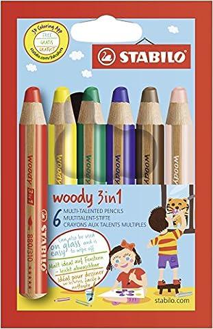 STABILO woody 3in1 - Étui carton de 6 crayons tout-terrain
