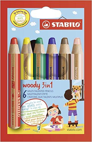 Buntstift, Wasserfarbe & Wachsmalkreide - STABILO woody 3 in 1 - 6er Pack - mit 6 verschiedene...