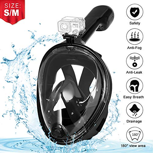 EVOLAND Vollmaske Schnorchelmaske Tauchmaske, Easybreath Anti-Fog Tauchmaske Kinder Vollgesichtsmaske Diving Mask mit 180 Grad Sicht für Kinder Frauen und Erwachsene (S/M)
