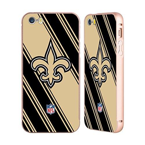 Ufficiale NFL Righe 2017/18 New Orleans Saints Oro Cover Contorno con Bumper in Alluminio per Apple iPhone 5 / 5s / SE Righe