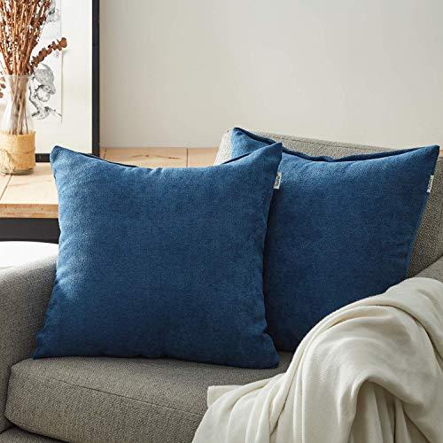 Topfinel juego 2 Fundas cojines sofas de Algodón Lino duradero Almohadas Decorativa de color sólido Para Sala de Estar, sofás, camas, sillas 60x60cm Azul marino