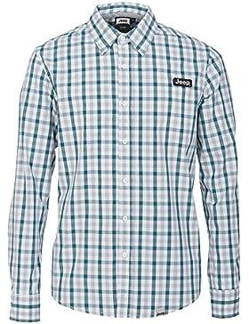 Jeep Camisa de algodón de manga larga J5S para hombre, Check Aqua Bleu/Brittany Bleu, XXL