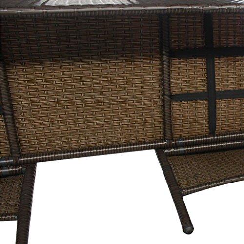 vidaXL 2-Sitzer-Bank mit Teetisch Gartenbank Gartenmöbel-Set Poly Rattan Braun - 4
