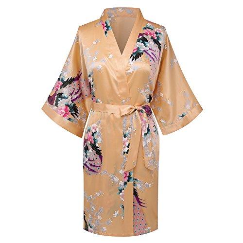 WitBuy de las mujeres pijamas de seda ropa de dormir Bata Kimono corto boda flores de albornoz-albornoz...