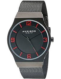 Akribos XXIV Reloj de hombre de cuarzo con Negro esfera analógica pantalla y negro pulsera de acero inoxidable ak851bk