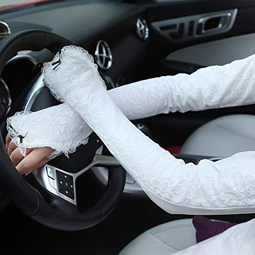 Pomety Damen Classy Floral Stretching Lace Hochzeit Handschuhe UV-Schutz Fingerlose Handgelenk Ellenbogen Länge Lange Abendkleid Handschuhe (Color : White)
