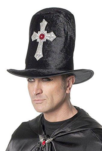 Karneval Klamotten Dracula-Hut Vampir-Hut Herren Kopfbedeckung Dracula mit Kreuz Vampir-Zylinder (Damen Hut Mit Kreuz)