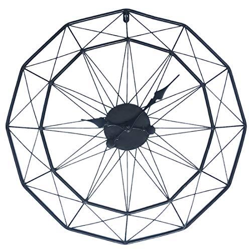 Jo332Bertram 3D 60cm Vintage Wanduhr Groß Wanduhr Uhr Metall Ohne Tickgeräusche Dekorative Wanduhr für Küche Wohnzimmer Büro - Schwarz