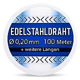 Edelstahldraht V2A - Ø 0,20 mm 100 Meter (0,08 EUR/m) Edelstahl Draht Heizdraht Schneidedraht Wickeldraht S304 AWG32 0,2
