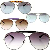 Miss Sixty Designer Sonnenbrille, Silber-Weiß mit grauen Gläsern für Damen Pilotenbrille Aviator tropfenform