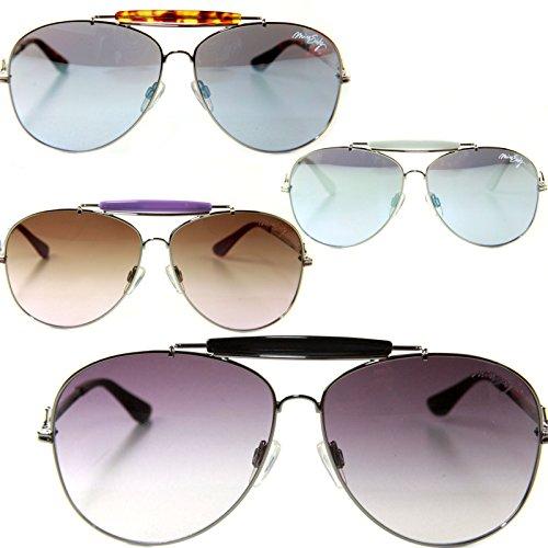 Miss Sixty Designer Sonnenbrille, Silber-Lila mit braunen Gläsern für Damen Pilotenbrille Aviator tropfenform