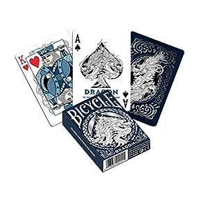 Bicycle Dragons-Baraja de Poker de Colección, Color Azul y Plata (1)