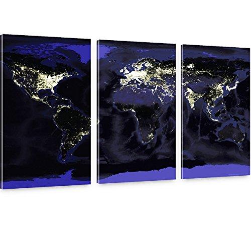 Goods & Gadgets GmbH Unsere Erde bei Nacht - XXL Weltkarte 150x100cm - Leinwand auf Keilrahmen 3-teilige Bilder Fotos NASA Space Weltall Foto-gadget