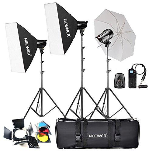 Neewer® 540W (180W x 3) Professionelle Fotografie Studioblitz-Stroboskop-Beleuchtung-Installationssatz für die Portraitfotografie, Studio und Video Shoots (T-180B)