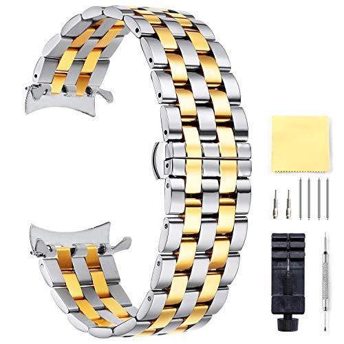 BINLUN Unisex Edelstahl Uhr Armband Silber Gold 22MM FBL00016B-SSG22