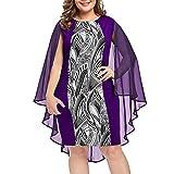 YBWZH Large Size Round Neck Printed Chiffon Shawl Pleated Dress Pattern Fight to Receive Waist Bag Hip Dress
