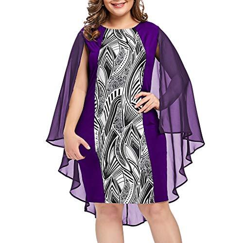 LILIHOT Mode Frauen Plus Größe Chiffon gedruckt Oansatz Overlay ärmelloses Kleid Sommerkleid Damen T-Shirt Kleid Rundhals Kurzarm Minikleid Blumen Strandkleider Langes Shirt