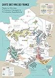 BigMouthFrog Affiche Vintage Poster Vintage Carte des vins de France, régions viticoles, Principaux cépages et appellations - oenologue et œnologie - décoration Murale...