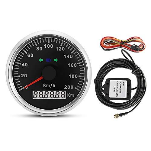 Nikou Digitaler GPS-Geschwindigkeitsmesser - Auto-LKW-Motorrad, GPS-Geschwindigkeitsmesser-Kilometerzähler-Messgerät mit Hintergrundbeleuchtung 85mm 200km / h 12V / 24V