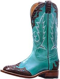 Botas americanas–Botas Western bo-5189-c (pie normal)–Mujer–Piel–Azul Turquesa/marrón