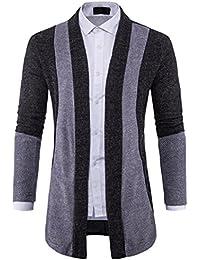 Herren Cardigan VENMO Herren Slim Fit Long Graben Mantel Sweater mit Kapuze  Fashion Jacket Streetwear Patchwork e6294c74da