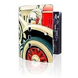 banjado Design Schlüsselkasten aus Edelstahl | 10 Haken für Schlüssel | praktischer Magnetverschluss | 24x21,5cm Motiv Oldtimer Räder