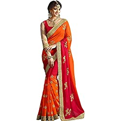 Saree Corner Embroidered Red-Coding Georgette Saree With Blouse Material