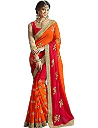 Zofey Georgette Saree With Blouse Piece(Gloryorange-Saree01_Orange_Free Size)
