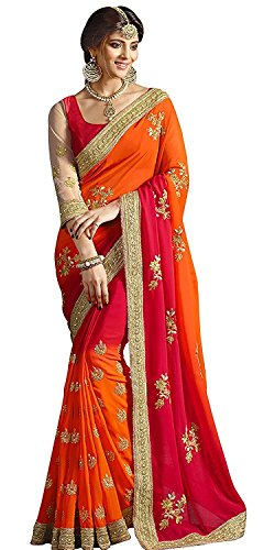 Zofey Designer Sarees Women's Georgette Embroidered Saree With Blouse Piece(GloryOrange-SAREE01_Orange_COLOUR)