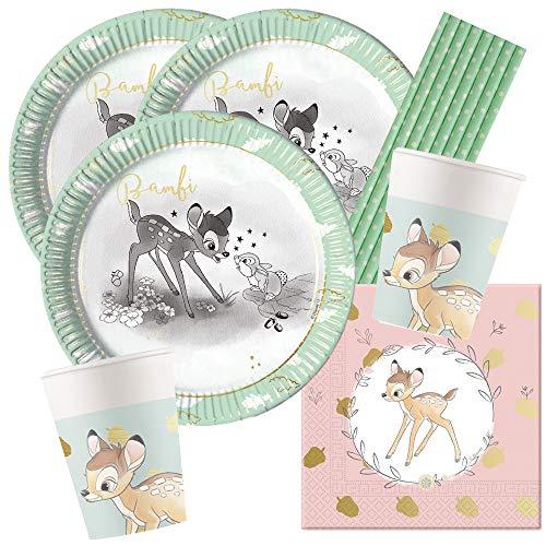 Procos/Hobbyfun 44-teiliges Premium Party-Set Bambi - Teller Becher Servietten Trinkhalme türkis für 8 Kinder