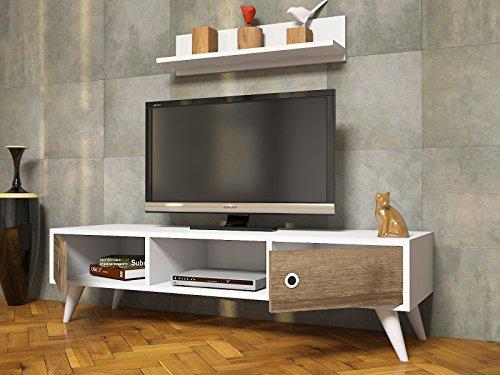 aspen wohnwand wei nussbaum tv lowboard mit wandregal in modernem design smash. Black Bedroom Furniture Sets. Home Design Ideas
