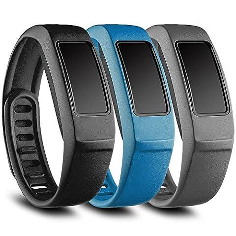 Funkid Band pour Garmin Vivofit 2, bracelet de rechange avec fermoir en métal pour Garmin Vivofit Bandes, Black, Blue, Gray