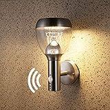 NBHANYUAN Lighting® LED Außenleuchte mit Bewegungsmelder und Dämmerungsschalter Aussenwandlampen Silber Edelstahl 3000K Warmweiß Licht 220-240V 1000LM 9.5W IP44 (mit PIR Sensor)
