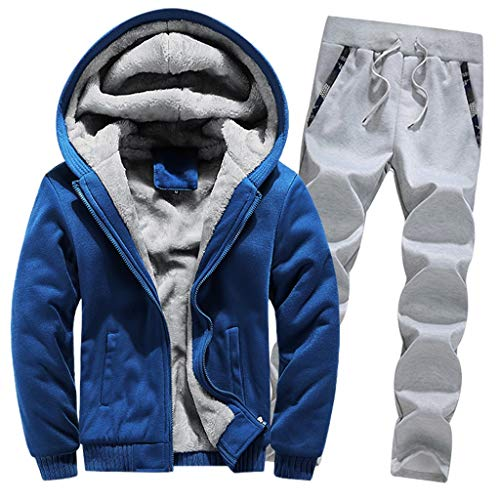 , Männer Sets, Herren Winter Warm Fleece Zipper Sweater Jacke Outwear Coat Top Hosen Sets Outwear Pants Kapuzenpullover Steppjacke Winterjacke Pullover Sweatshirt (XL,Blau) ()