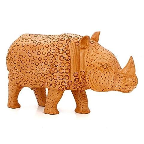 craftvatika Figurine animale Rhinocéros de Rhinocéros debout Statue Safari Afrique