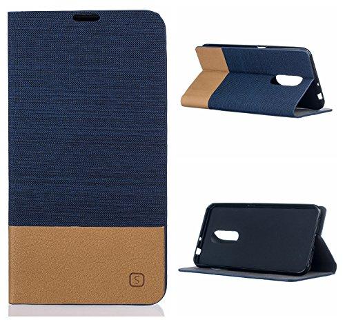 Voguecase® für ZTE Blade A910 hülle,(Segel-Serie-Dunkelblau) Kunstleder Tasche PU Schutzhülle Tasche Leder Brieftasche Hülle Case Cover + Gratis Universal Eingabestift
