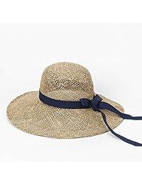 TtKj Grande gronda di Cappello di Paglia Estate Fiocco Nastro alghe Cappello  Outdoor Sun Visor Beach 4db6227cce24