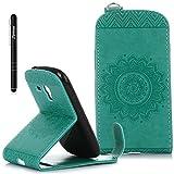 Galaxy S3 Mini Hülle Grün,Slynmax Mandala Flip Schutzhülle für Samsung Galaxy S3 Mini i8190 Tasche Wallet Klapphülle Brieftasche Lederhülle Bumper Handyhülle Ständer Kartenfächer Magnetverschluss