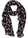 NEW STYLISH LADIES WEST HIGHLAND TERRIER SCOTTIE DOG SCARF / WRAP IN 8 FANTASTIC COLOURS TO CHOOSE FROM, BY Accessorize-me (BLACK & WHITE)