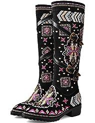 Martin Boot Warm Round Toe High Tube Boot Ceinture En Métal Low Heel Boot Broderie En Cuir Femme Knight Boot Meilleur Démarrage Hivernal