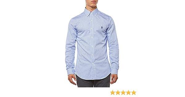 Polo Ralph Lauren Ls Slim Fit BD BlueWhite Hai Chemise Casual Homme