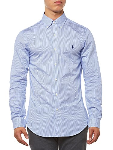 Polo Ralph Lauren Ls Slim Fit BD Blue/White Hai Chemise Casual Homme