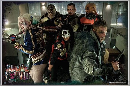 Suicide Squad Poster Team (62x93 cm) gerahmt in: Rahmen silber matt